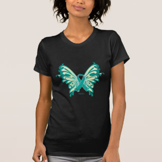 Ovarian Cancer Ribbon Butterfly T Shirt