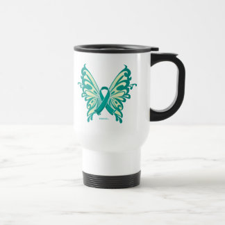 Ovarian Cancer Ribbon Butterfly Travel Mug