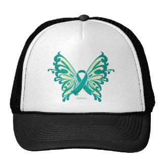 Ovarian Cancer Ribbon Butterfly Trucker Hat