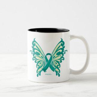 Ovarian Cancer Ribbon Butterfly Two-Tone Coffee Mug