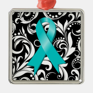 Ovarian Cancer Ribbon Deco Noir Square Metal Christmas Ornament