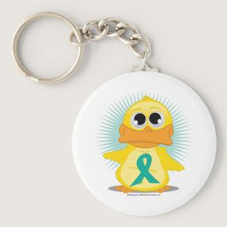 Ovarian Cancer Ribbon Duck Keychain