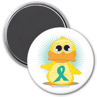 Ovarian Cancer Ribbon Duck Magnet