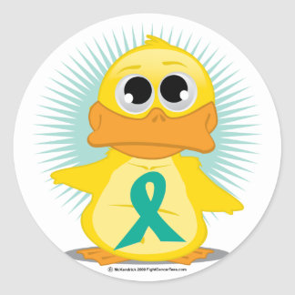 Ovarian Cancer Ribbon Duck Classic Round Sticker