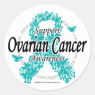 Ovarian Cancer Ribbon of Butterflies Round Sticker