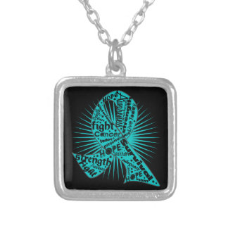 Ovarian Cancer Ribbon Powerful Slogans Square Pendant Necklace