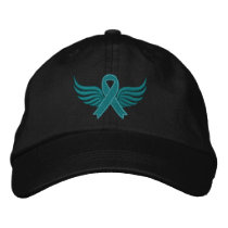Ovarian Cancer Ribbon Wings Embroidered Baseball Cap