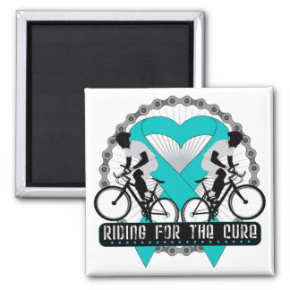 Ovarian Cancer Riding For The Cure 2 Inch Square Magnet
