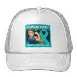 Ovarian Cancer Rosie Riveter - Fight Like a Girl Trucker Hat