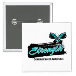 Ovarian Cancer Strength Butterfly Pinback Button