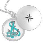 Ovarian Cancer  Strong Survivor Anchor Round Locket Necklace