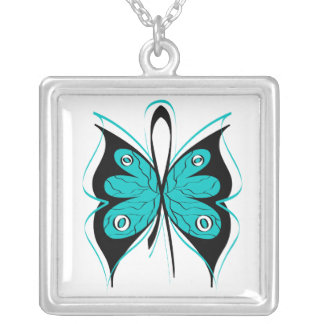 Ovarian Cancer Stylish Butterfly Awareness Ribbon Square Pendant Necklace