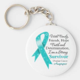 Ovarian Cancer Support Strong Survivor Keychain