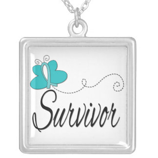 Ovarian Cancer Survivor Butterfly Ribbon Square Pendant Necklace