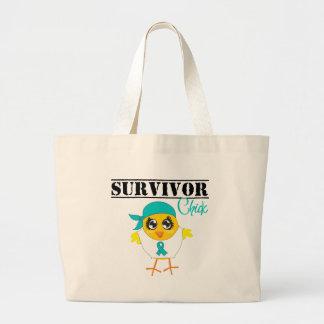 Ovarian Cancer Survivor Chick Large Tote Bag
