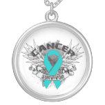 Ovarian Cancer Survivor Grunge Winged Necklaces