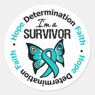 Ovarian Cancer Survivor Hope Determination Faith Round Stickers