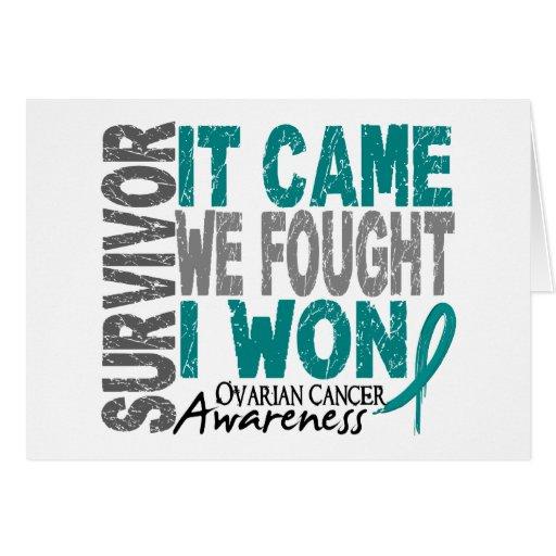 Ovarian Cancer Survivor It Came We Fought I Won Greeting Card