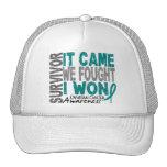 Ovarian Cancer Survivor It Came We Fought I Won Trucker Hat
