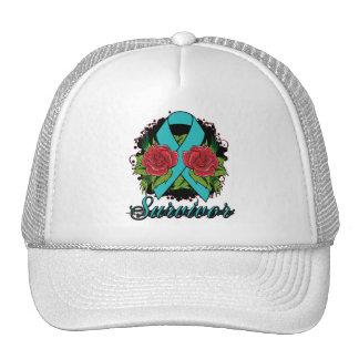 Ovarian Cancer Survivor Rose Tattoo Trucker Hat