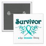 Ovarian Cancer Survivor Tribal Ribbon Buttons
