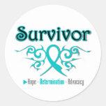 Ovarian Cancer Survivor Tribal Ribbon Stickers