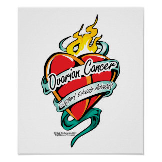 Ovarian Cancer Tattoo Heart Poster