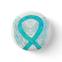 Ovarian Cancer Teal Awareness Ribbon Angel Pin