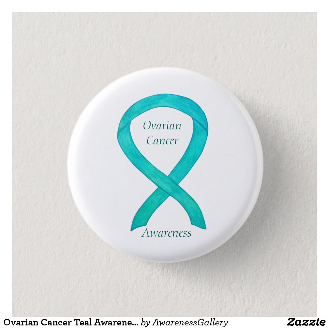 Ovarian Cancer Teal Awareness Ribbon Custom Pin