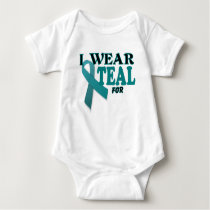 Ovarian Cancer Teal Awareness Ribbon Template Baby Bodysuit