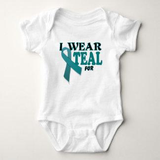 Ovarian Cancer Teal Awareness Ribbon Template Baby Bodysuit