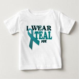 Ovarian Cancer Teal Awareness Ribbon Template Baby T Shirt
