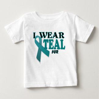 Ovarian Cancer Teal Awareness Ribbon Template Baby T-Shirt
