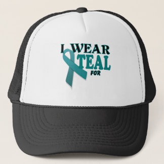 Ovarian Cancer Teal Awareness Ribbon Template Trucker Hat