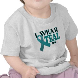 Ovarian Cancer Teal Awareness Ribbon Template T-shirt