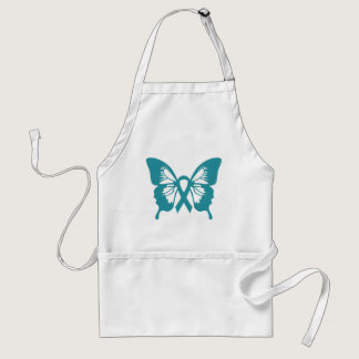 Ovarian Cancer Teal Butterfly apron