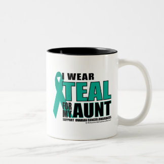 Ovarian Cancer Teal For Aunt Two-Tone Coffee Mug