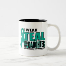 Ovarian Cancer Teal For Daughter Two-Tone Coffee Mug