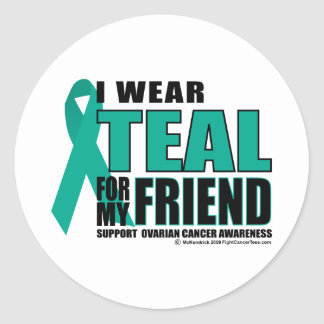Ovarian Cancer Teal For Friend Classic Round Sticker