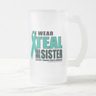 Ovarian Cancer Teal For Sister Frosted Glass Beer Mug