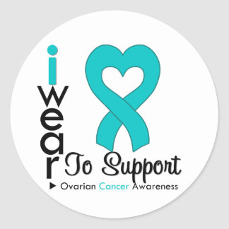 Ovarian Cancer Teal Heart Ribbon Support Awareness Stickers