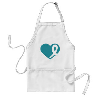 Ovarian Cancer Teal Heart white ribbon apron