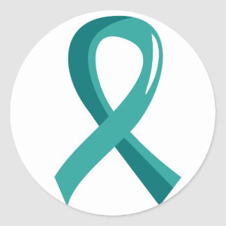 Ovarian Cancer Teal Ribbon 3 Classic Round Sticker