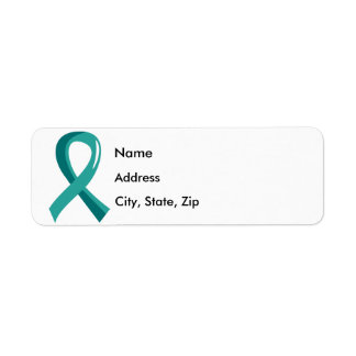 Ovarian Cancer Teal Ribbon 3 Label