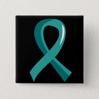 Ovarian Cancer Teal Ribbon 3 Pinback Button