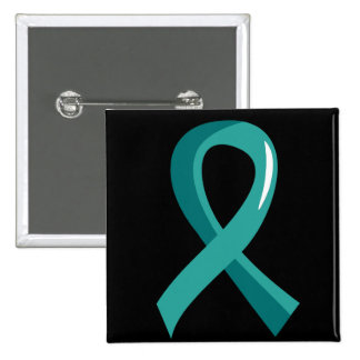 Ovarian Cancer Teal Ribbon 3 Pinback Button
