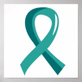 Ovarian Cancer Teal Ribbon 3 Print