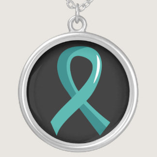 Ovarian Cancer Teal Ribbon 3 Silver Plated Necklace