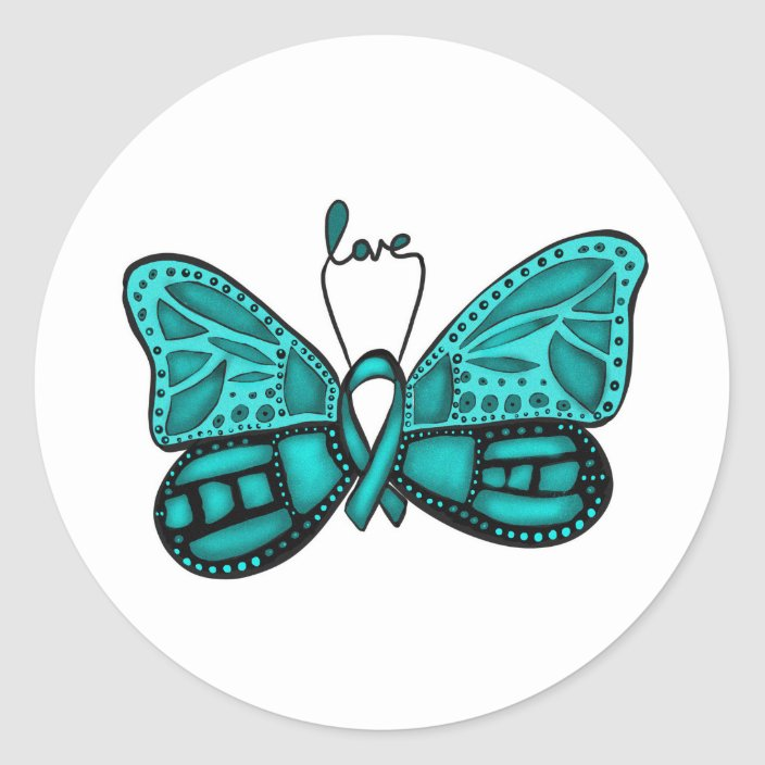Ovarian Cancer Teal Ribbon Butterfly Sticker Zazzle Com