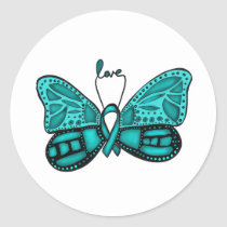 Ovarian cancer teal ribbon butterfly sticker